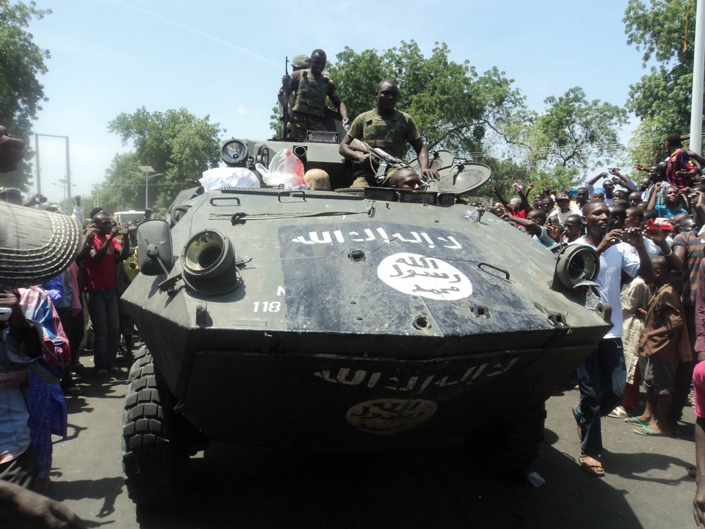 PIC.1. CAPTURED  ARMOURED VEHILE IN MAIDUGURI