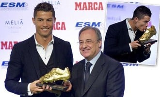 Ronaldo receives shared Golden Boot award