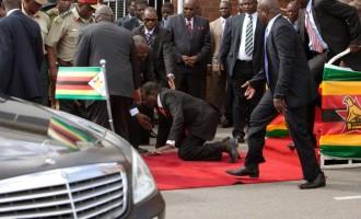 90-year-old Mugabe falls at Harare Airport