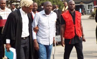 Ex-NIMASA DG shows up in court in crutch