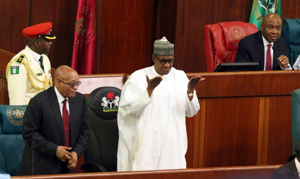 President Muhammadu Buhari, President Jacob Zuma and President of the Senate Dr. Bukola Sarki as President Zuma Addresses a joint session of the National Assembly in Abuja.