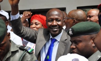 Magu at the barricade of Abuja pirates