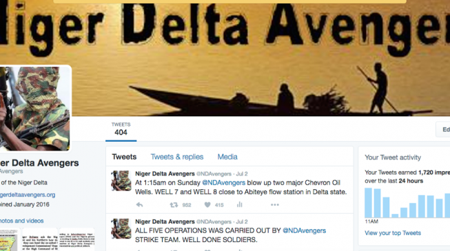 Twitter suspends account of Nigerian militant group Niger Delta Avengers