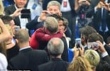 Sir Alex Ferguson congratulates Ronaldo with big hug