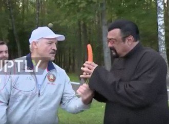 HILARIOUS! Belarus president feeds Hollywood actor, Steven Seagal, carrot
