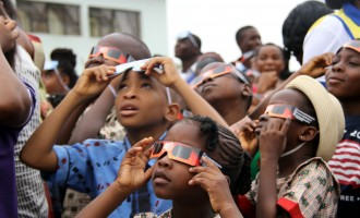 PHOTOS: Abuja pupils gather at NASRDA to watch solar eclipse