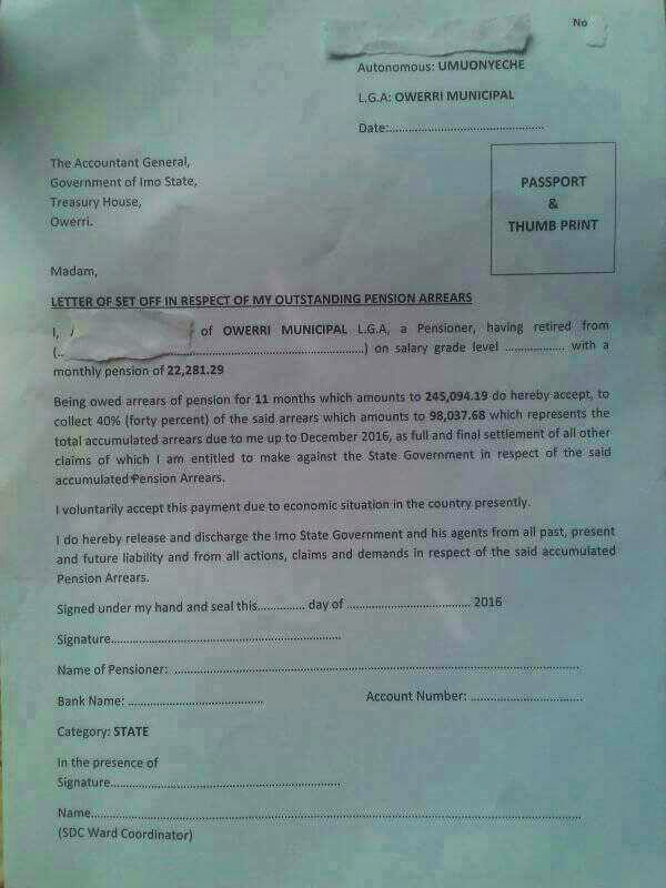 Imo Pension Letter