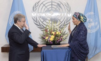 The moment Amina Mohammed took oath of office at UN
