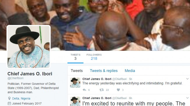 EXTRA: Ibori opens Twitter account, says 'I'm excited'