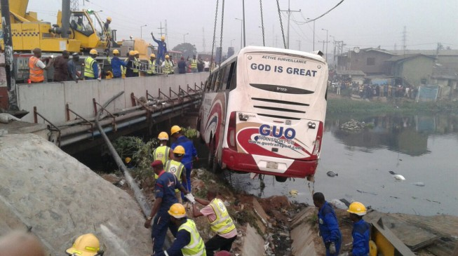 Three killed, 23 injured as bus plunges into river in Lagos