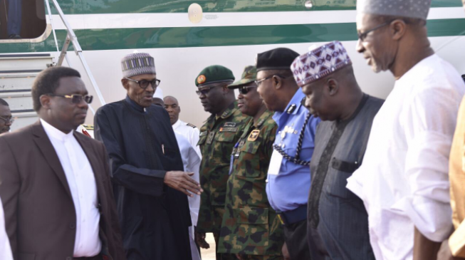 The moment Buhari arrived after 49 days break in the UK