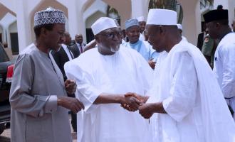 PHOTOS: Magu, DSS DG shake hands  at Aso Rock mosque