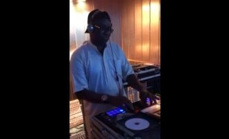 EXTRA: Fayose 'outshines' Melaye, turns studio DJ