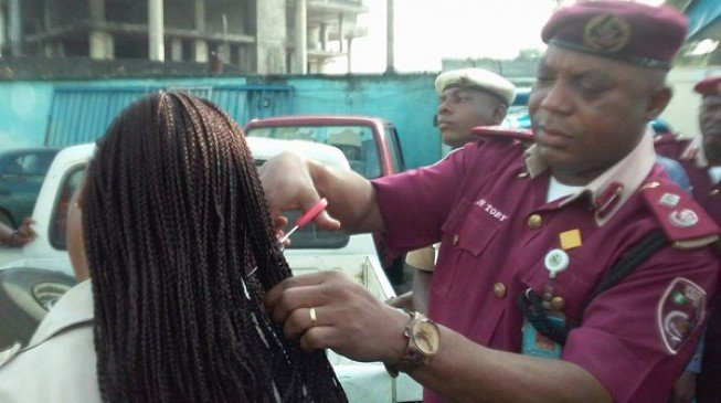 FRSC sector commander chops off the hair of female officers