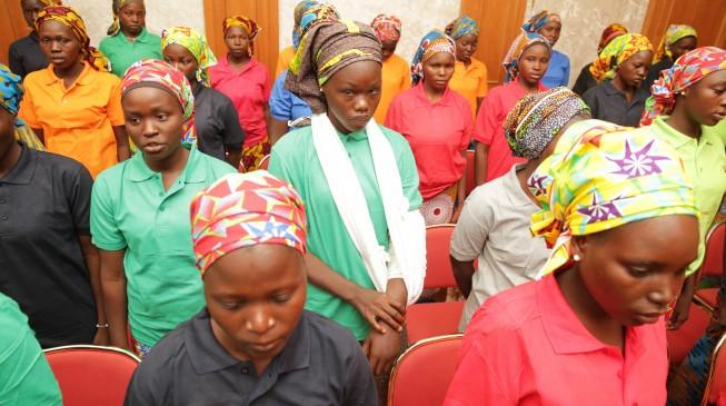 Chibok girls arrive presidential villa to meet Buhari