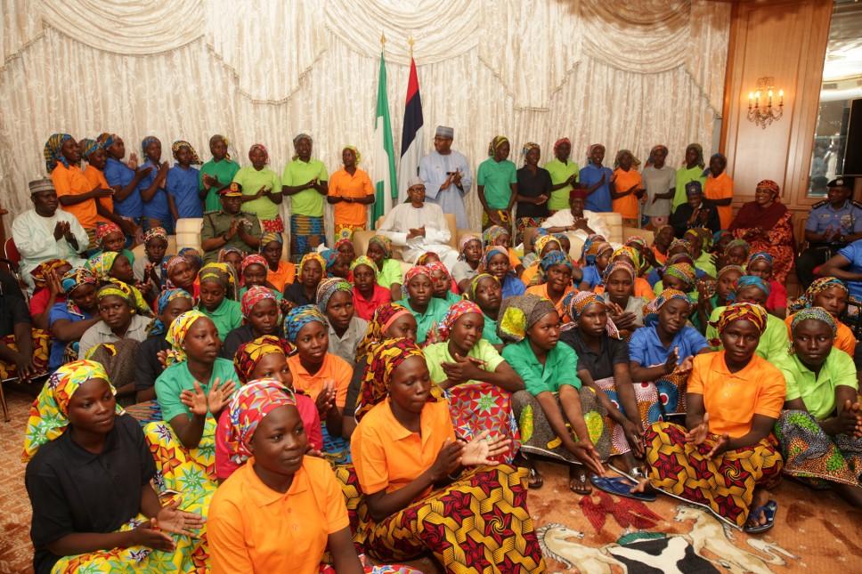 Buhari receives freed Chibok girls