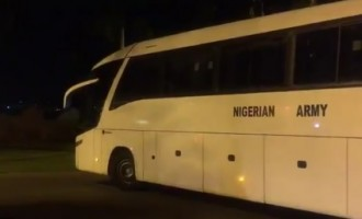 Chibok girls departing Aso Villa after meeting Buhari