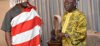 PHOTOS: Holyfield visits Tinubu ahead of boxing match