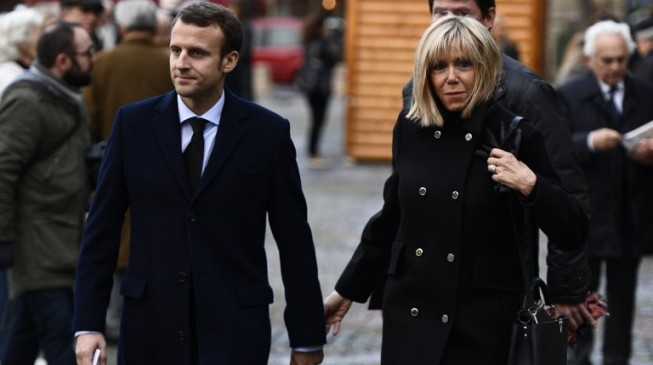 Emmanuel Macron and 65 years old wife
