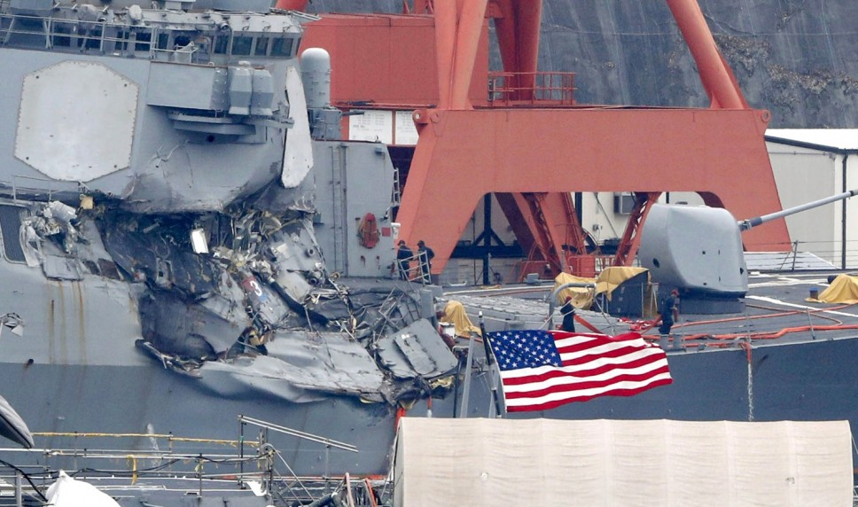 US warship collides with cargo in Japan