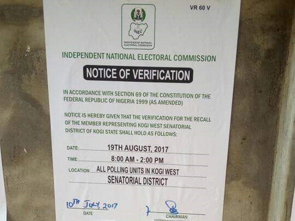INEC starts Dino's recall, pastes notice of verification