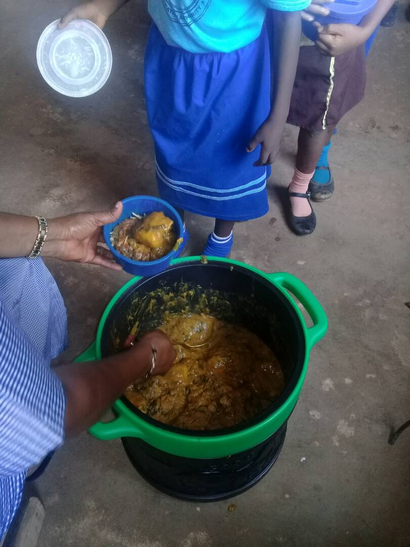 This is what the school feeding programme looks like at Obosi Central School