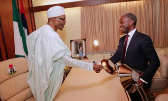 PHOTOS: Buhari receives Osinbajo at home