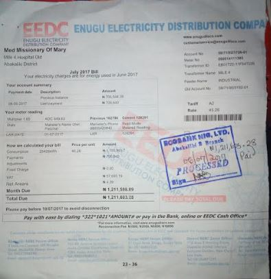 Copy of a recent electricity bill paid to the EEDC