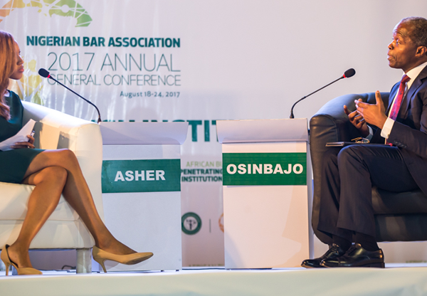 Vice President Yemi Osinbajo in an interactive session with Zain Asher, CNN International news anchor during the Conference in Lagos.