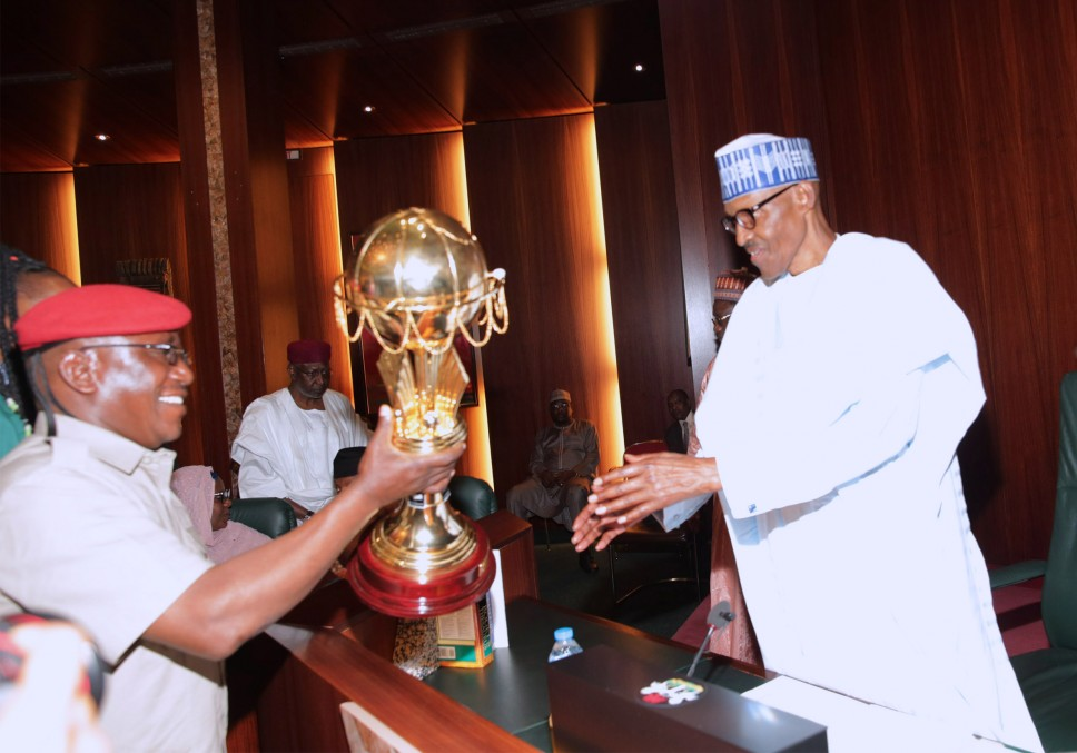 Buhari hosts victorious D'Tigress at Aso Rock