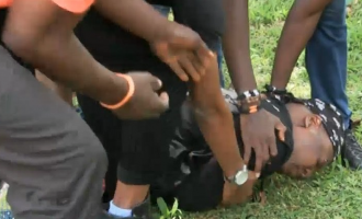 Police spokesman: Charly Boy fell down when he spotted the camera