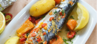 How to make mackerel fish in orange sauce, apple fritters and avocado puree