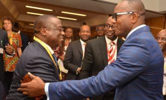 PHOTOS: Baru hugs Kachikwu at economic summit