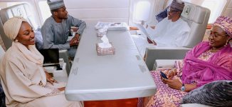 PHOTOS: Buhari relaxes with wife, children en route Turkey