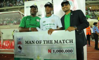 Abdullahi gets 10 bags of rice as Nigeria-Zambia man of the match