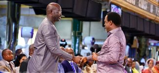 George Weah storms TB Joshua's church