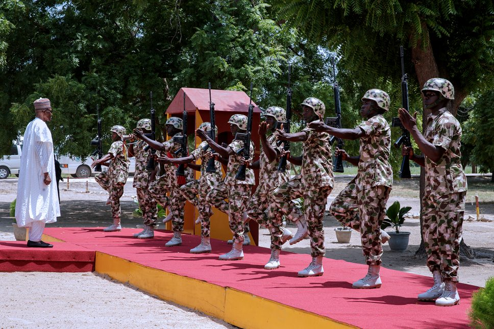 Buhari celebrates independence with troops in Borno