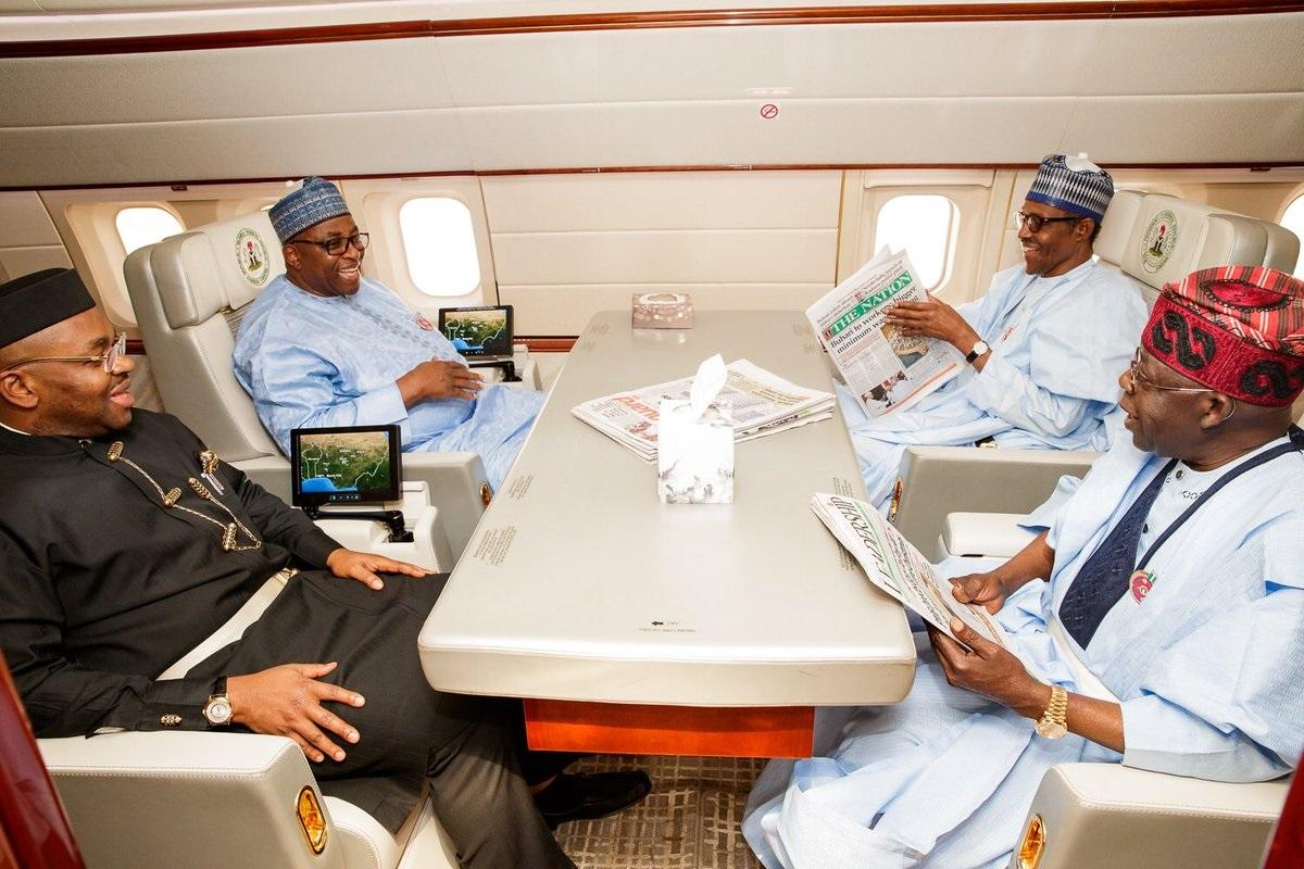 [PHOTOS] Buhari Departs To Abidjan For EU-AU summit As Tinubu Is On Board With PMB