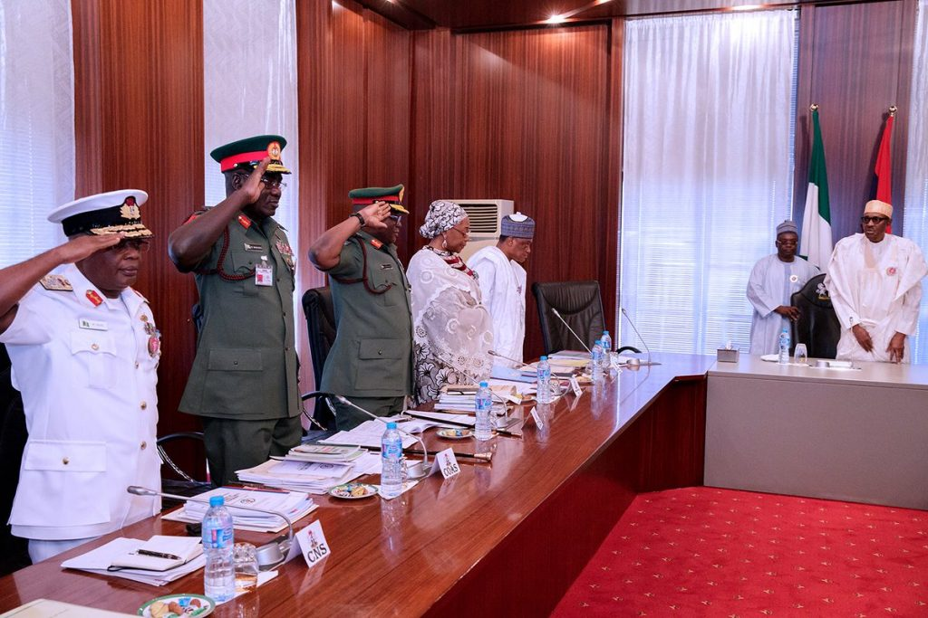 The service chiefs and Mansur Dan-Ali minister of defence inside the preident's office