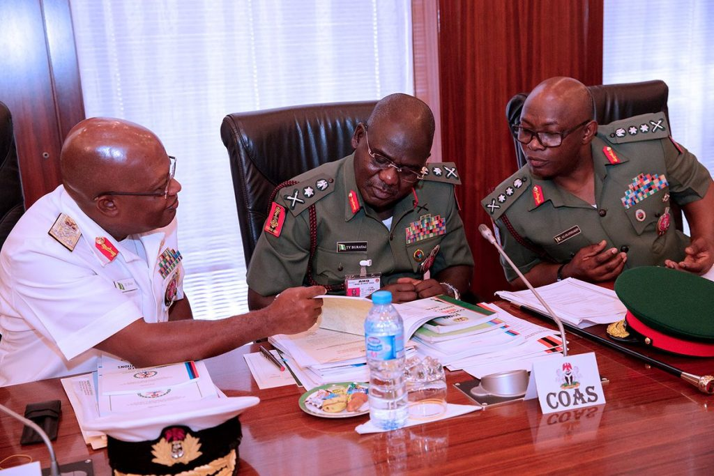 President Buhari Meets With Service Chiefs At Old Aso Rock Office