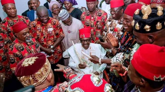 PHOTOS: Buhari bags two chieftaincy titles on visit to Ebonyi