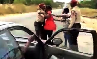 SHOCKING VIDEO: FRSC officer engages woman in fist fight