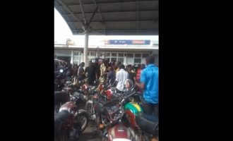 VIDEO: Soldier deals with 'troublemaker' at Lagos filling station