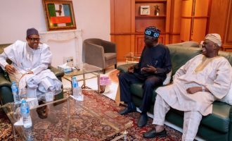 Tinubu, Akande 'sneak out' of Aso Rock after meeting Buhari