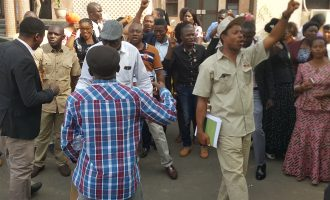 Police officers stationed at NHIS headquarters over workers' protest