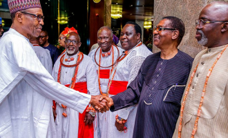 PHOTOS: Uduaghan, Pinnick accompany Olu of Warri to Aso Rock