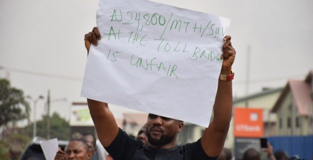 Protesters hit the streets over fare hike at Lekki toll gate