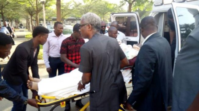 Olisa Metuh Wheeled To Court On A Stretcher