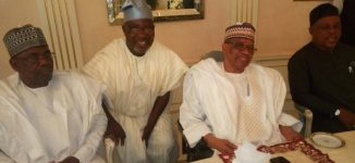 PHOTOS: IBB receives Secondus, top PDP leaders in Minna