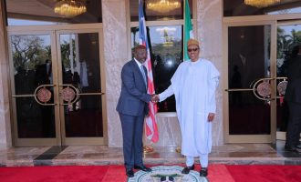 Buhari hosts George Weah in Aso Rock